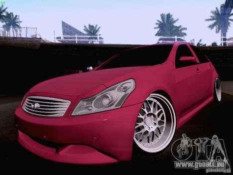 Infiniti G37 Sedan pour GTA San Andreas vue de dessous