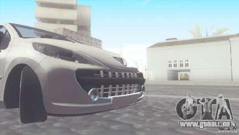 Peugeot 207 RC pour GTA San Andreas sur la vue arrière gauche