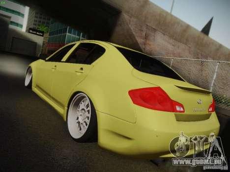 Infiniti G37 Sedan pour GTA San Andreas vue intérieure