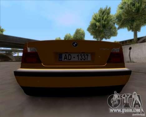 BMW 730i E38 1996 Taxi pour GTA San Andreas vue arrière