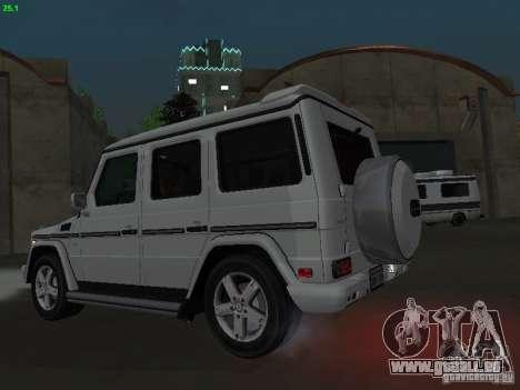 Mercedes-Benz Galendewagen G500 für GTA San Andreas zurück linke Ansicht