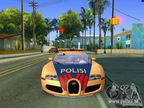 Bugatti Veyron Indonesian Police für GTA San Andreas zurück linke Ansicht