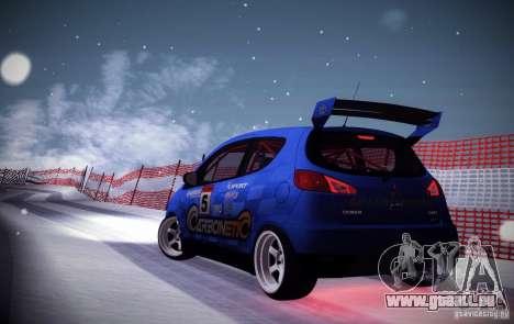 Mitsubishi Colt Rallyart Carbon 2010 pour GTA San Andreas sur la vue arrière gauche