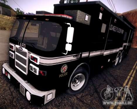 Pierce Contendor LAPD SWAT pour GTA San Andreas sur la vue arrière gauche