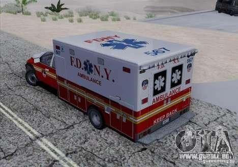 Dodge Ram Ambulance pour GTA San Andreas vue intérieure