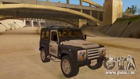 Land Rover Defender Sheriff pour GTA San Andreas vue arrière