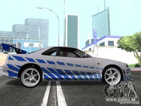 Nissan Skyline GT-R R34 pour GTA San Andreas sur la vue arrière gauche