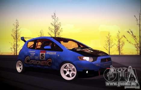 Mitsubishi Colt Rallyart Carbon 2010 pour GTA San Andreas vue intérieure