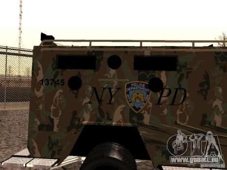 Lenco Bearcat NYPD für GTA San Andreas zurück linke Ansicht