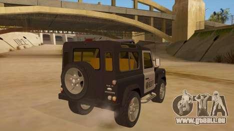 Land Rover Defender Sheriff pour GTA San Andreas vue de droite