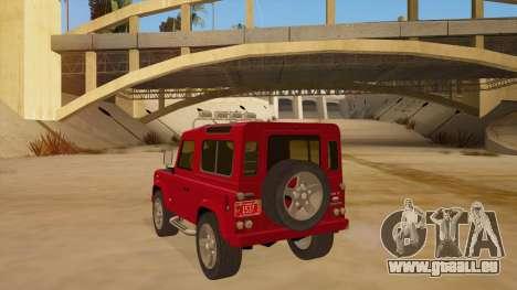 Land Rover Defender für GTA San Andreas zurück linke Ansicht