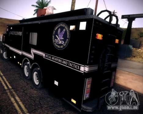 Pierce Contendor LAPD SWAT für GTA San Andreas Rückansicht
