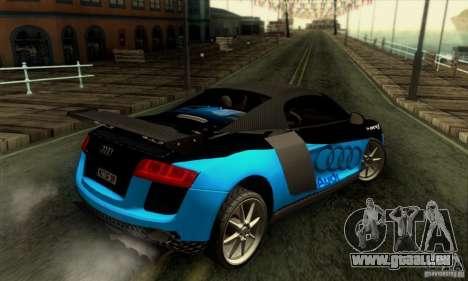 Audi R8 Spyder Tunable für GTA San Andreas Unteransicht