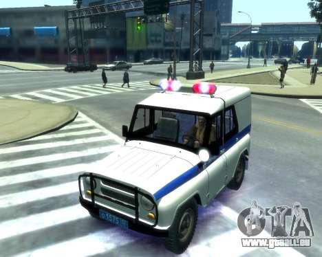 UAZ 31512 Police pour GTA 4 est une vue de l'intérieur