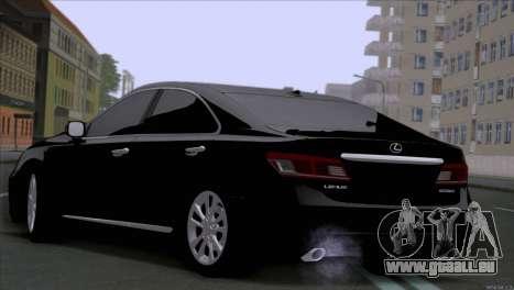 Lexus ES350 pour GTA San Andreas sur la vue arrière gauche