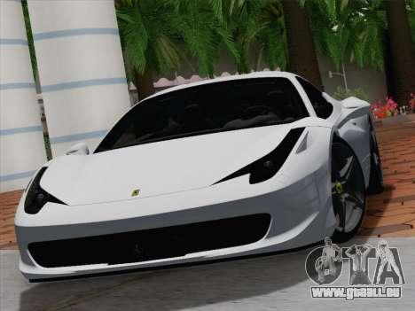 Ferrari 458 Italia 2010 pour GTA San Andreas salon