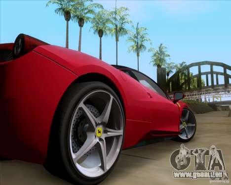 Ferrari 458 Italia V12 TT Black Revel pour GTA San Andreas vue arrière
