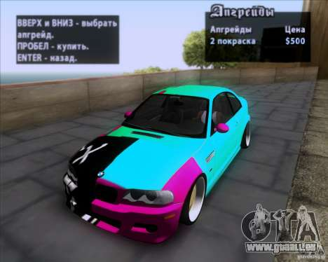 BMW 3-er E46 Dope für GTA San Andreas obere Ansicht