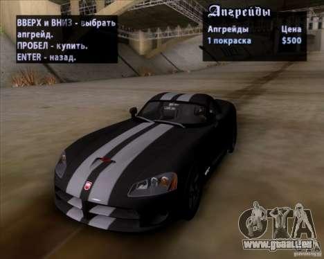 Dodge Viper SRT-10 Coupe für GTA San Andreas obere Ansicht