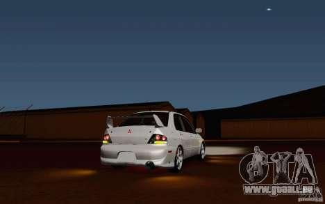 Mitsubishi Lancer Evo VIII GSR für GTA San Andreas zurück linke Ansicht