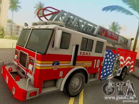 Seagrave FDNY Ladder 10 für GTA San Andreas zurück linke Ansicht