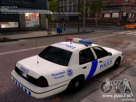 Ford Crown Victoria Homeland Security für GTA 4 Innenansicht