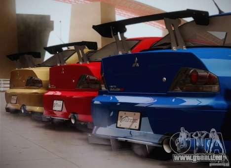 Mitsubishi Lancer Evolution VIII MR Edition pour GTA San Andreas laissé vue