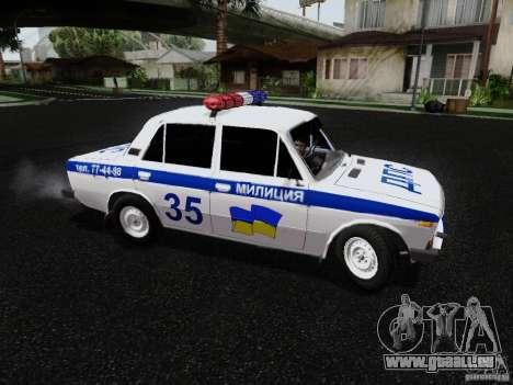 VAZ 2106 Polizei für GTA San Andreas zurück linke Ansicht