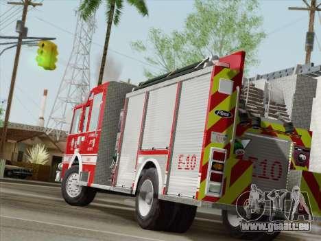 Pierce Saber LAFD Engine 10 pour GTA San Andreas sur la vue arrière gauche