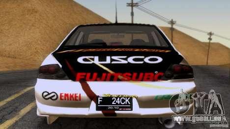 Mitsubishi Lancer Evolution 8 für GTA San Andreas obere Ansicht