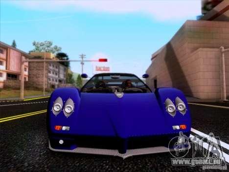 Pagani Zonda C12S Roadster für GTA San Andreas Innenansicht