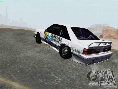 Ford Mustang Drift pour GTA San Andreas sur la vue arrière gauche