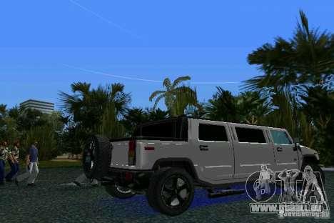 Hummer H2 SUT Limousine pour GTA Vice City sur la vue arrière gauche