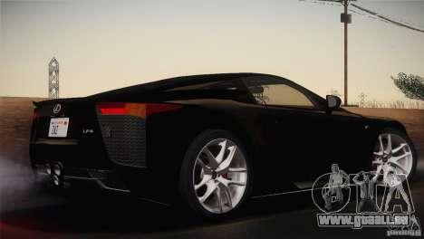 Lexus LFA (US-Spec) 2011 pour GTA San Andreas laissé vue