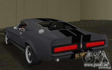 Shelby GT500 Eleanor pour GTA Vice City sur la vue arrière gauche