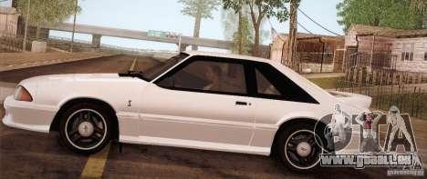 Ford Mustang SVT Cobra 1993 für GTA San Andreas zurück linke Ansicht