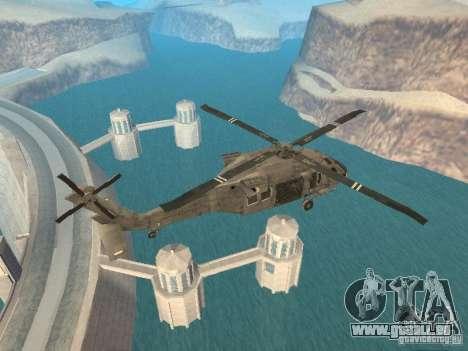 Die UH-60 von COD MW3 für GTA San Andreas zurück linke Ansicht