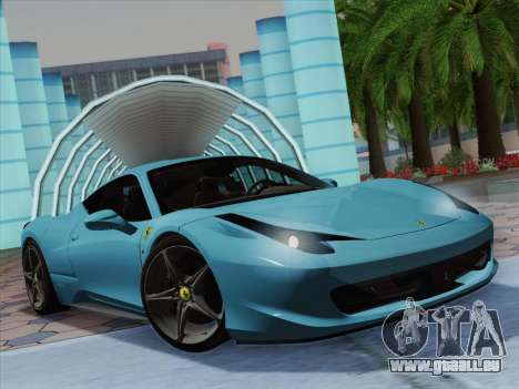 Ferrari 458 Italia 2010 pour GTA San Andreas vue intérieure