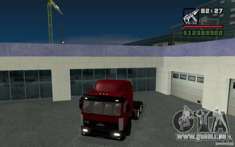 MAZ-643068 pour GTA San Andreas sur la vue arrière gauche