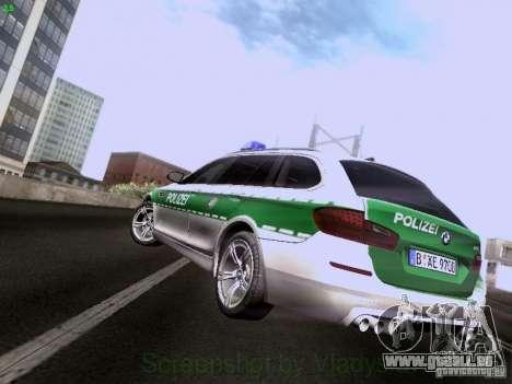 BMW M5 Touring Polizei pour GTA San Andreas sur la vue arrière gauche