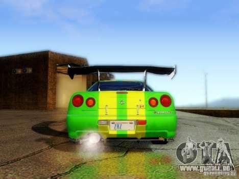 Nissan Skyline GT-R R34 pour GTA San Andreas vue intérieure