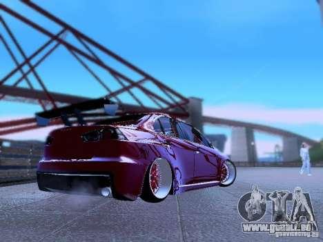 Mitsubishi Lancer Evolution X v2 Make Stance pour GTA San Andreas sur la vue arrière gauche