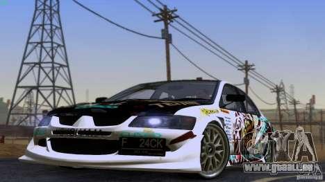 Mitsubishi Lancer Evolution 8 pour GTA San Andreas sur la vue arrière gauche