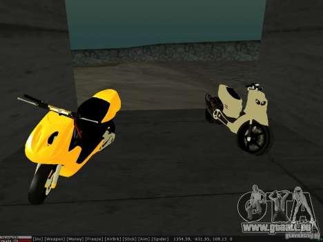Yamaha Aerox pour GTA San Andreas vue intérieure