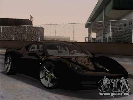 Ferrari 458 Italia 2010 pour GTA San Andreas sur la vue arrière gauche