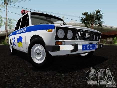 VAZ 2106 Polizei für GTA San Andreas Rückansicht
