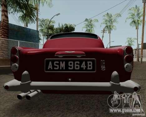 Aston Martin DB5 pour GTA San Andreas sur la vue arrière gauche