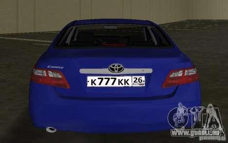 Toyota Camry 2007 für GTA Vice City Rückansicht