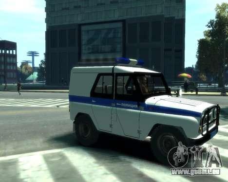UAZ 31512 Polizei für GTA 4 hinten links Ansicht