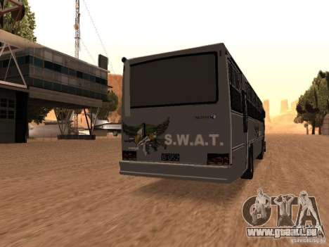 Mercedes Benz SWAT Bus für GTA San Andreas zurück linke Ansicht